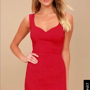 Lulu's Count On It Red Sleeveless Bodycon Dress